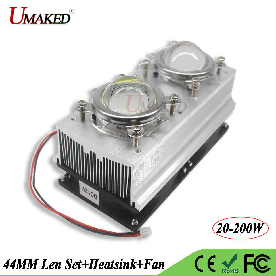 LED Heat sink with Fan Cooler+44MM Lens 60 90 120 Degree+Reflactor+Bracket Holder Aluminum Radiator For 20W-200W Grow lights DIY 44mm led heat sink aluminum radiator led lens reflect fix holder dc12v fan five piece suit for 10 100w high power growlight chip
