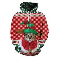 Christmas Hoodies Sweatshirts 3d Print Long Sleeve Oversized Pullover Casual Loose Red Green Jumper Women Coats