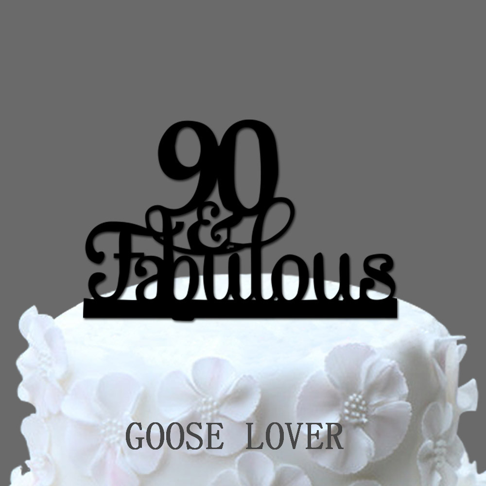 90th And Fabulous Cake Topper Birthday Party Decoration Acrylic Anniversary Gifts90 Years Old In Decorating Supplies