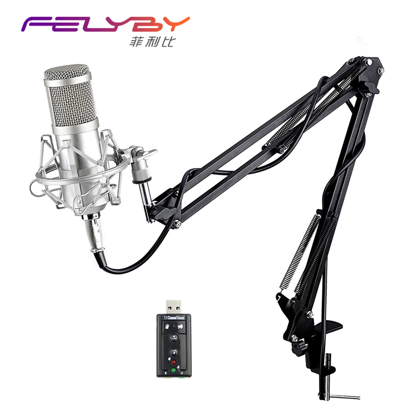 FELYBY Professional bm 800 Condenser Microphone for computer Audio Studio Vocal Recording Mic KTV Karaoke + Microphone stand  3 5mm jack audio condenser microphone mic studio sound recording wired microfone with stand for radio braodcasting singing