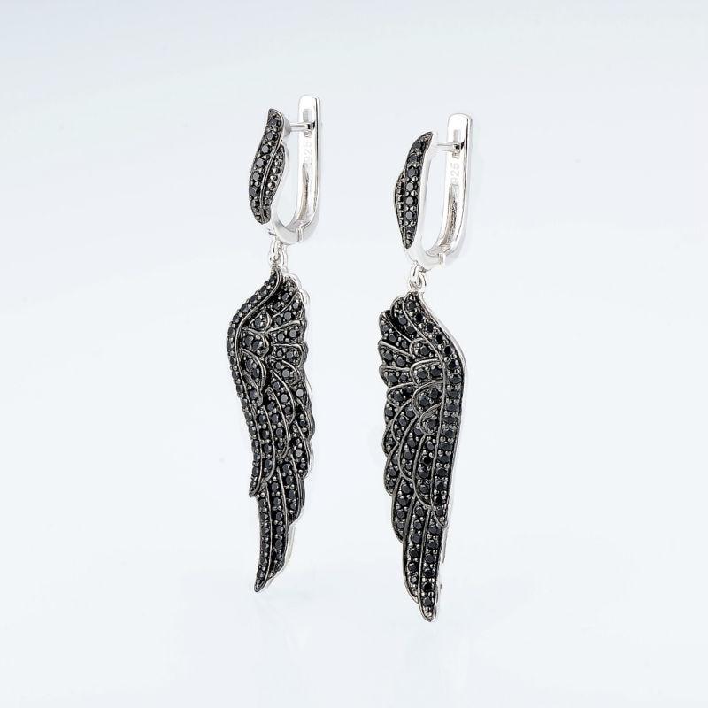 Image 4 - SANTUZZA Silver Black Angel's Wing Earrings For Women 925 Sterling Silver  Earrings Silver 925 Cubic Zirconia brincos Jewelry-in Stud Earrings from Jewelry & Accessories