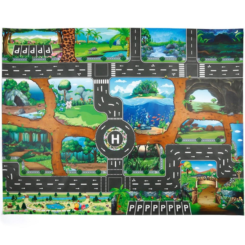 Dinosaur World Jurassic Park Scene Play Mat Kids Educational Toy Play Map with 18 Pcs Traffic Signs dinosaur world jurassic park scene play mat kids