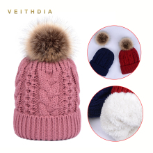 VEITHDIA Womens Hats Super Thicken Add velvet Fleece Inside Beanies Winter Paisley Hats for women Pompom Hat Female 8 Twist caps