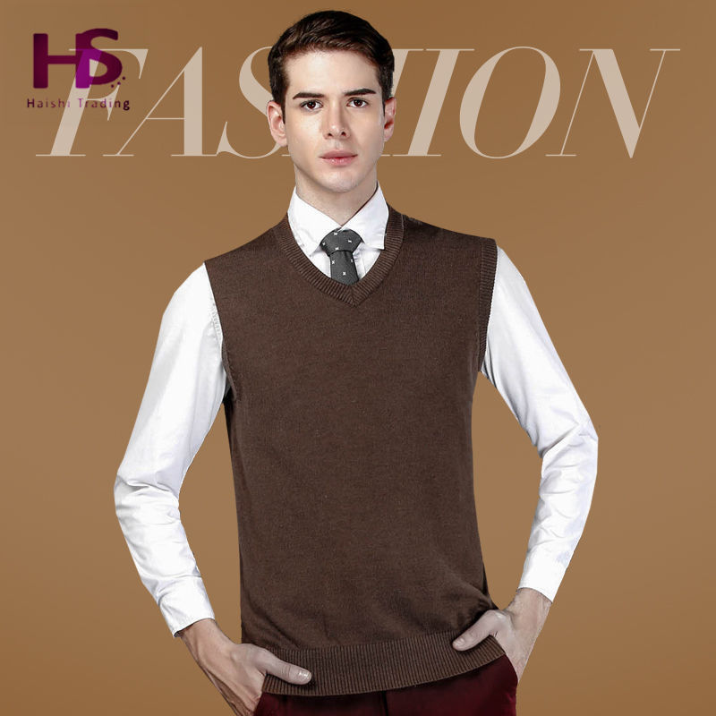 2015 New Autumn Winter Warm Cashmere Sweater Vest Men Classic