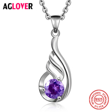 Women Silver Jewelry 925 Sterling Charm Geometric Pendant Necklace 100% 50cm Link Chain Fine