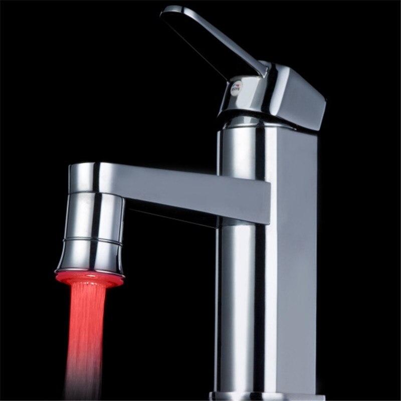 100pcs/lot 7 Color Glowing LED Faucet Tap Temperature Sensor LED Faucet Light Color Change Aerator