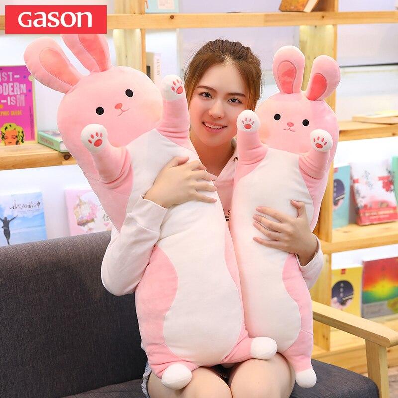 GASON 70/90/110 cm mignon mignon lapin en peluche jouet poupée de couchage longue oreiller poupée poupée oreiller poupée à envoyer les filles cadeaux oreiller plancher