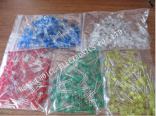 500pcs 5mm LED diode Light Assorted Kit DIY LEDs Set White Yellow Red Green Blue free shiiping
