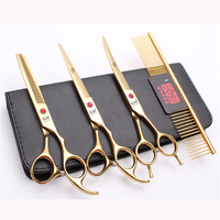 20Sets Suit 7 19.5cm Japan Kasho Brand Pets Hair Clipper Grooming for dogs Comb+Cutting&Thinning Scissors&Up Curved Shear H3002