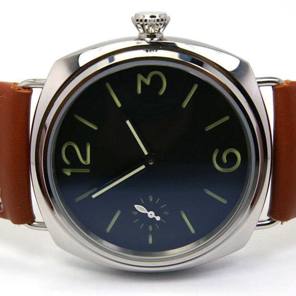 Manual Watch BOMAX MARINA 45MM Sterile Black Dial Hand Wind Stainless Steel Case Brown Leather Strap Men Watches