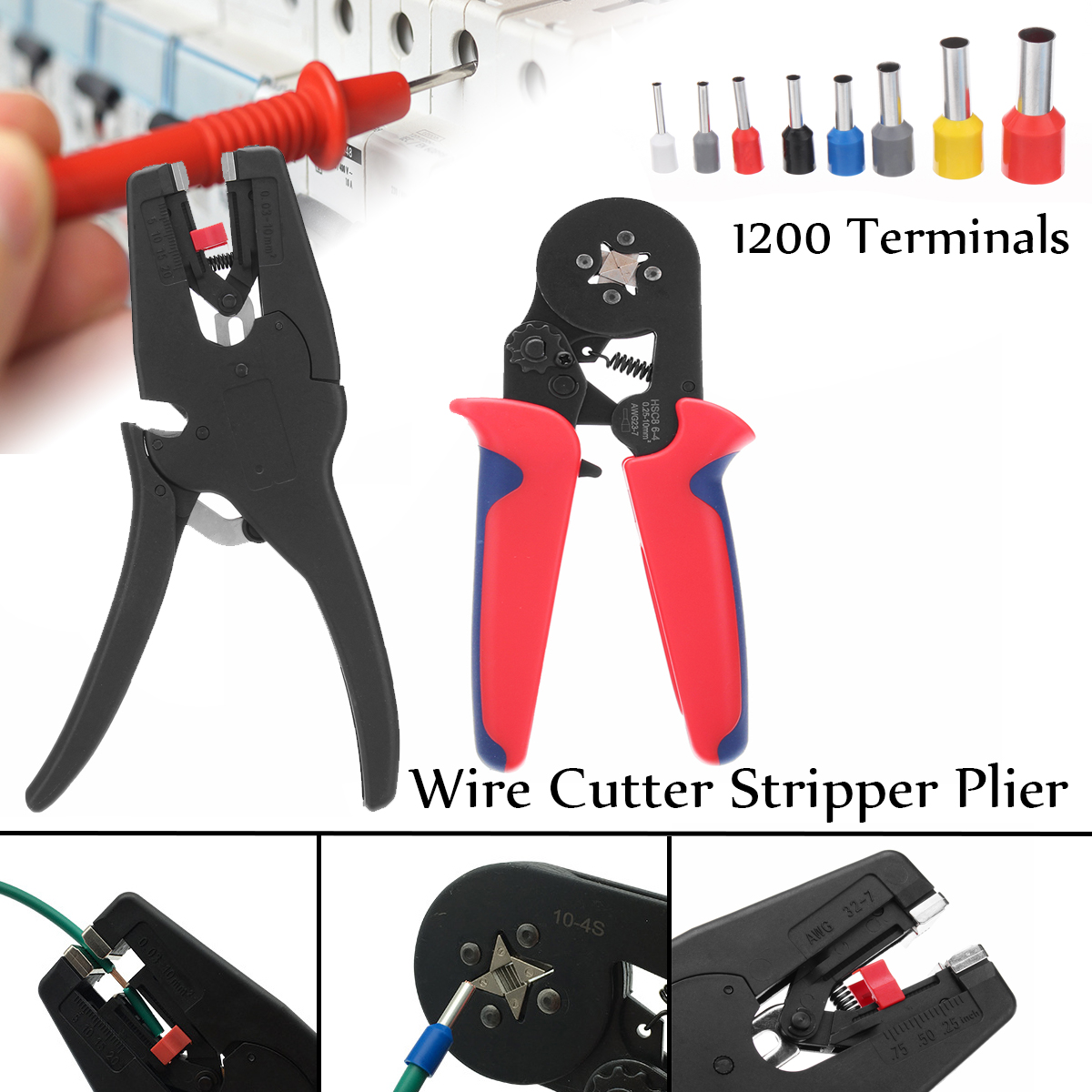 1200Pcs Terminals Kit Crimpong Tool Electric Wire Cutter Pliers Stripper Cable Cutting Crimper Plier Electrician Hand Tools 6inch cable cutter plastic handle electric wire stripper cutting plier tool kit