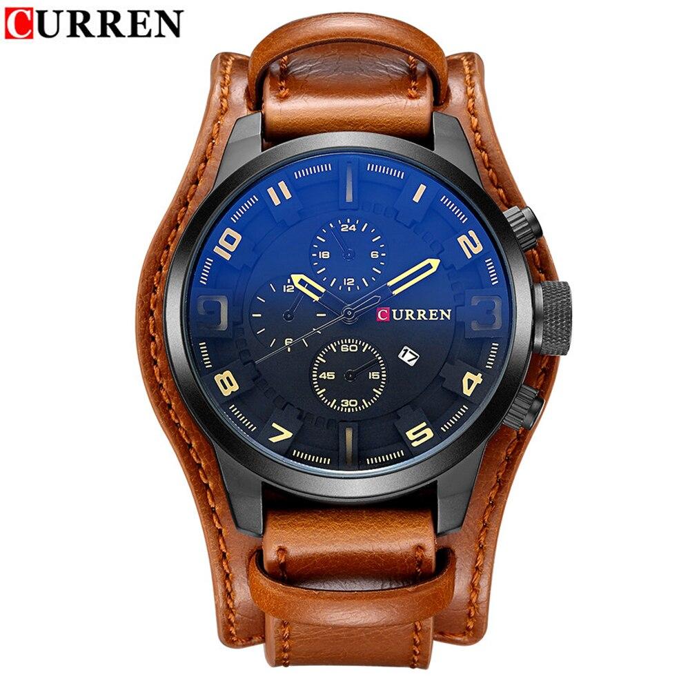 Relojes deportivos analógicos de marca de lujo CURREN para Hombre Reloj de pulsera de cuero de cuarzo creativo