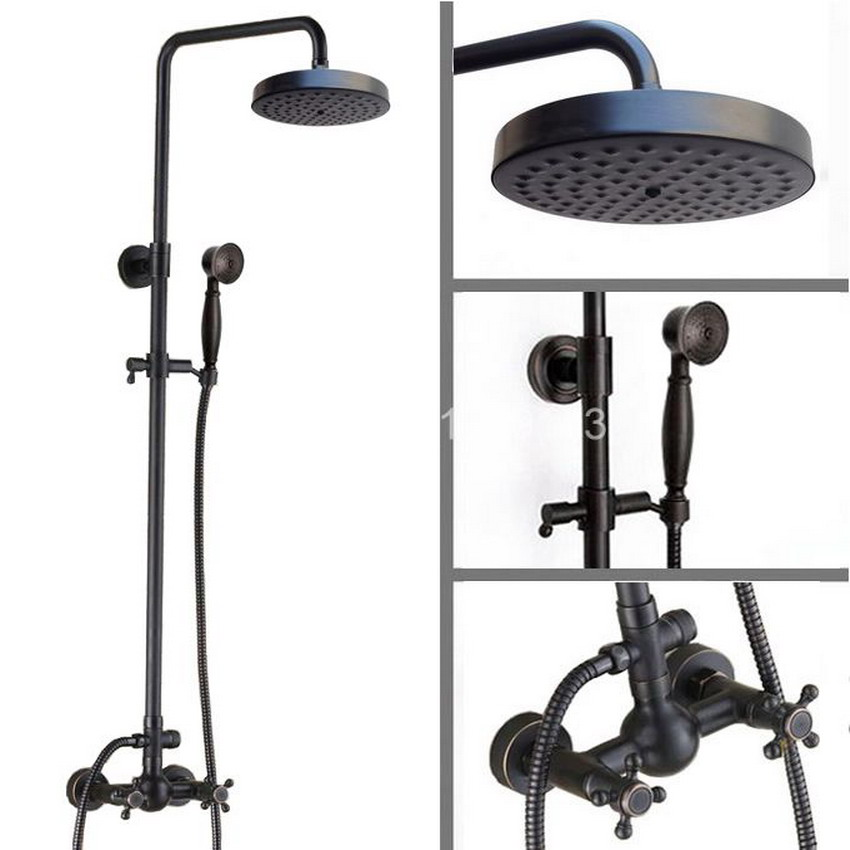 Wall Mounted Shower System with 7.7 Rain Shower Head & Handshower Black Oil Rubbed Antique Brass ars416