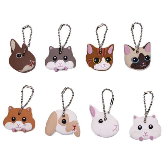 Lovely Animals Shape Key Ring Silicone Cap Head Cover Key Case Shell Keychain Jewelry Gift 5