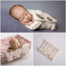 2019 Newborn Photography Props Baby Blanket Knit Wrap Basket Studio Infant Photoshoot Accessories