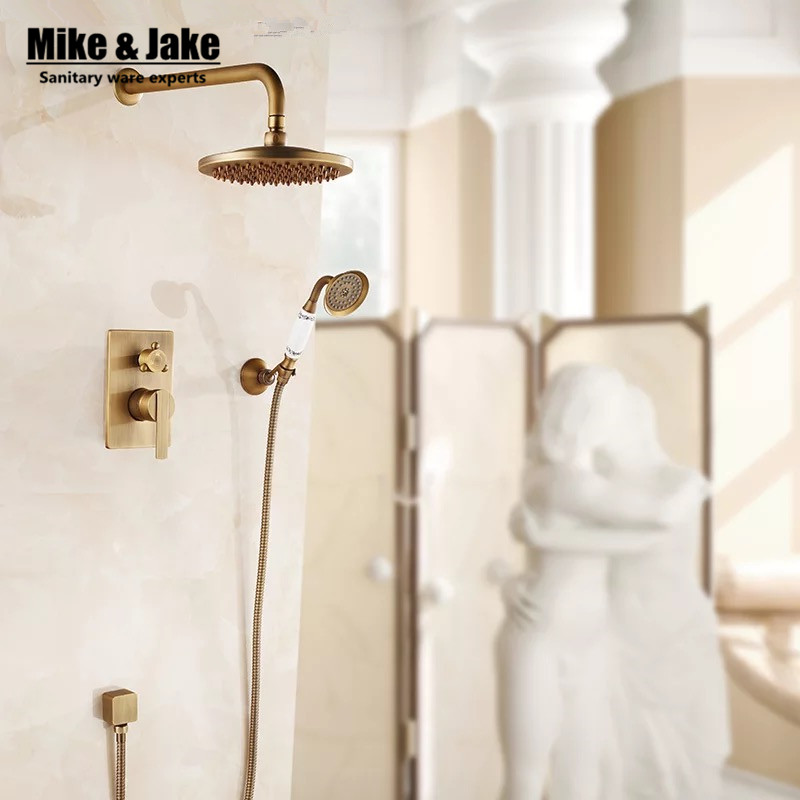 Bathroom wall concealed antique shower faucet mixer black ORB bathroom shower kit bath mixer set shower two function shower set