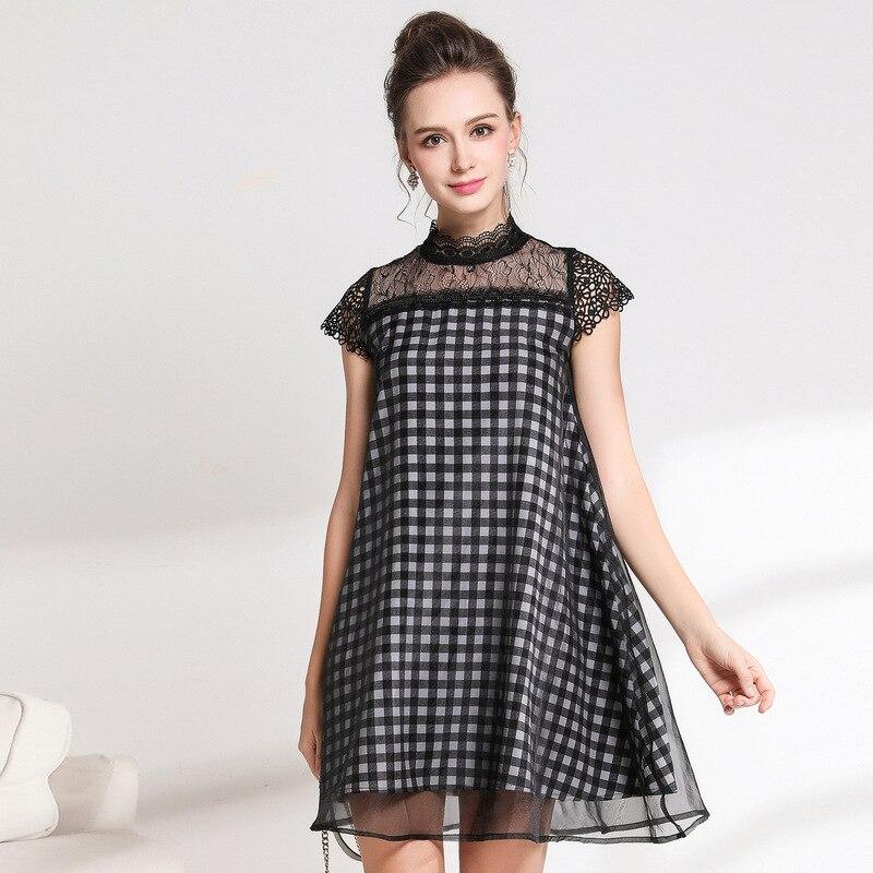 Été femmes Plaid flare robe dentelle patchwork élégant une-pièce robe col montant juniors mignon robe décontracté robe XXXXXL 5XL