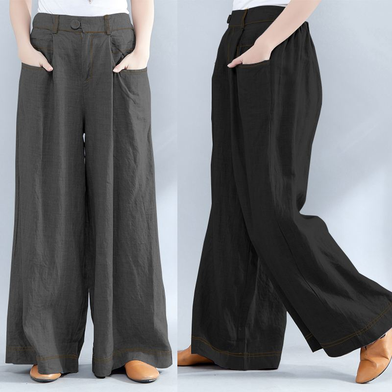 Women's Trousers 2019 ZANZEA Plus Size Wide Leg Pants Fashion Woman Elastic Waist Baggy Pantalon Palazzo Casual Pant Bottoms 5XL