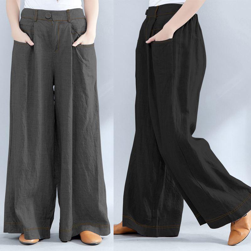 Women's Trousers 2020 ZANZEA Plus Size Wide Leg Pants Fashion Woman Elastic Waist Baggy Pantalon Palazzo Casual Pant Bottoms 5XL