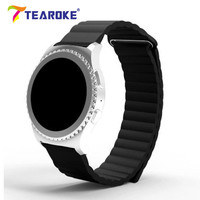 TEAROKE Genuine Leather Watchband For Samsung Gear S2 Classic Adjustable Magnetic Loop Replacement Bracelet Band Strap