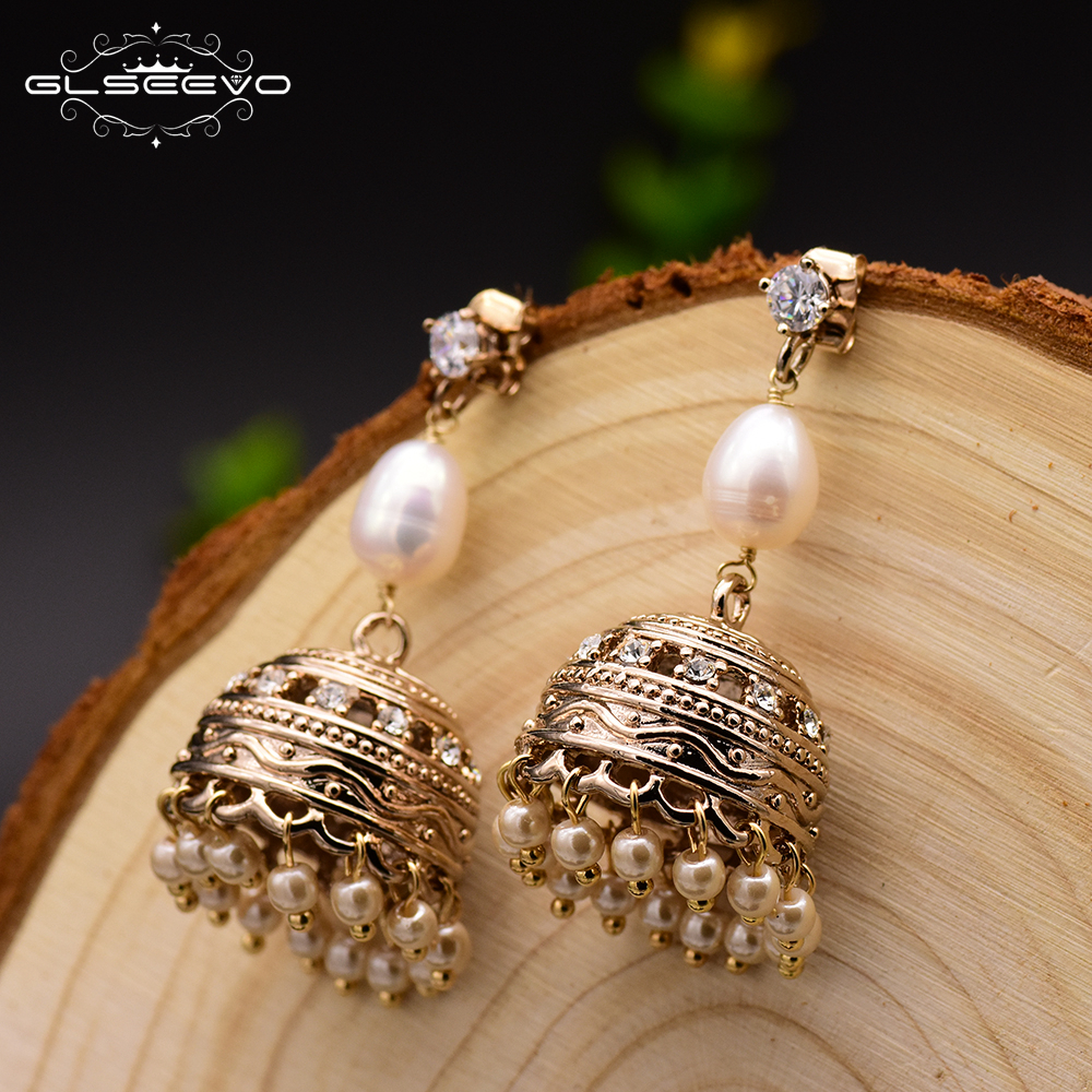 GLSEEVO 925 Silver Ear Pin Natural Fresh Water Pearl Dangle Earrings For Women Vintage Ball Shape Drop Earrings Handmade GE0322 pair of fashionable faux gem decorated water drop shape earrings for women