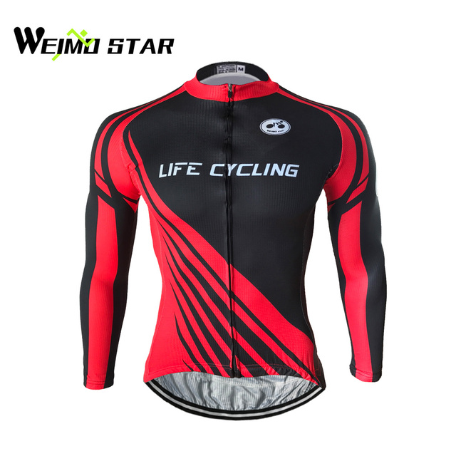 f64daca88 Weimostar Men s Long Sleeve Cycling Jersey Bike Biking Shirt Breathable and Quick  Dry Black Red