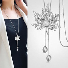 Canada Style The maple leaf Long Pendant Necklace Vintage Sweater Chain For Women Shiny Austrian Crystal Jewelry For Party(China)