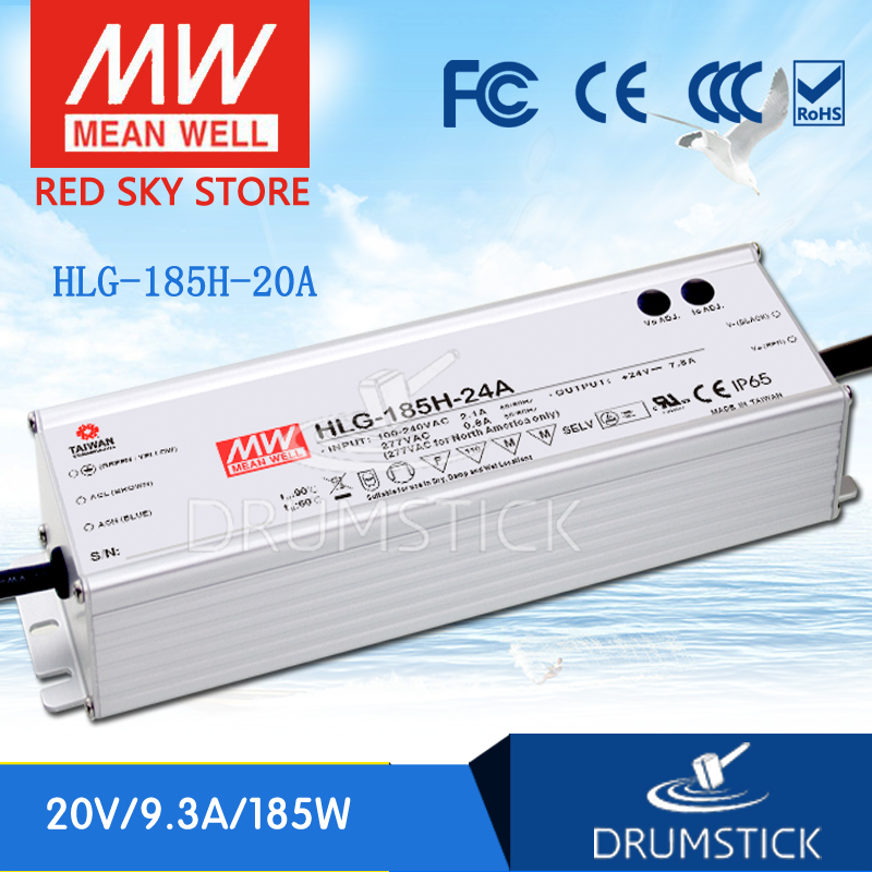 цена на hot-selling MEAN WELL HLG-185H-20A 20V 9.3A meanwell HLG-185H 20V 186W Single Output LED Driver Power Supply A type