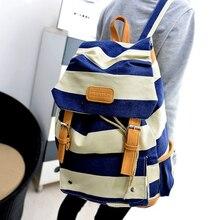 Stacy sac meilleur vendeur femmes rayé impression toile sac à dos étudiant sac d'école adolescent voyage sac