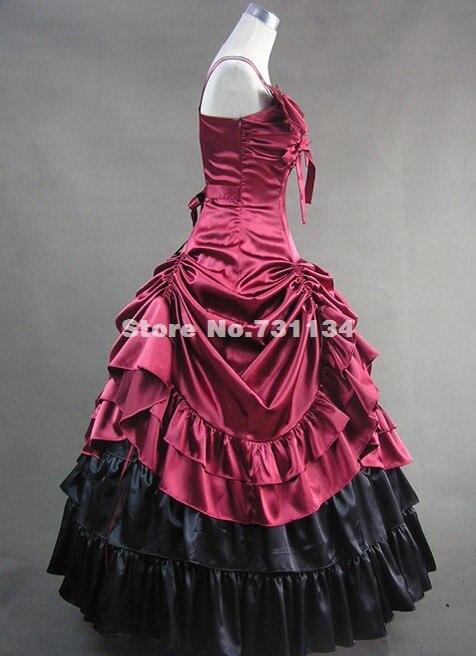 Темно-красный цвет благородный и элегантный готический, викторианской эпохи платье викторианское бальное платье