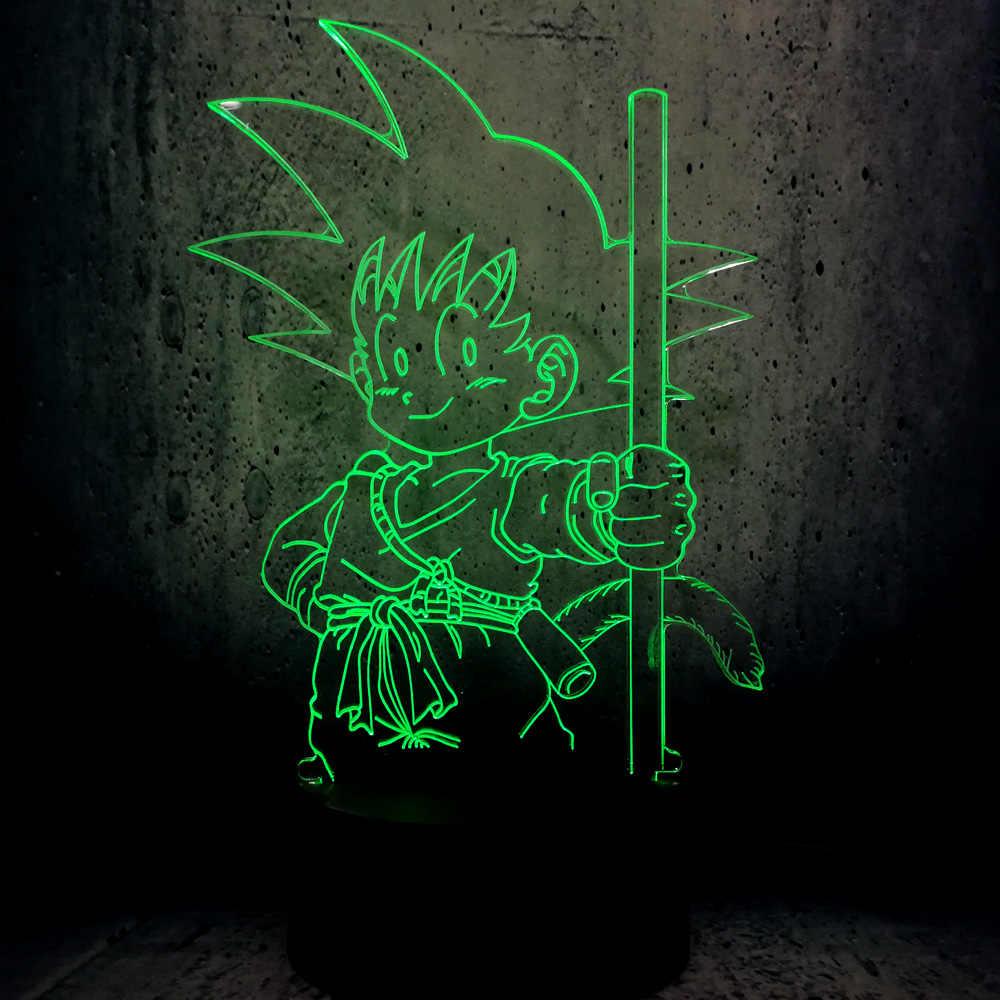3D Janpan мультфильм супер Гоку обезьяна с палкой USB светодиодный светильник 7 Dragon Ball красочные лампы настроения ночные светильники Декор для детской
