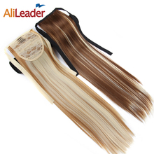 """AliLeader 20"""" Clip In Hair Extensions Ponytails Pure Mix Ombre Colorful Wrap On Synthetic Pony Tail False Hair Ponytail"""