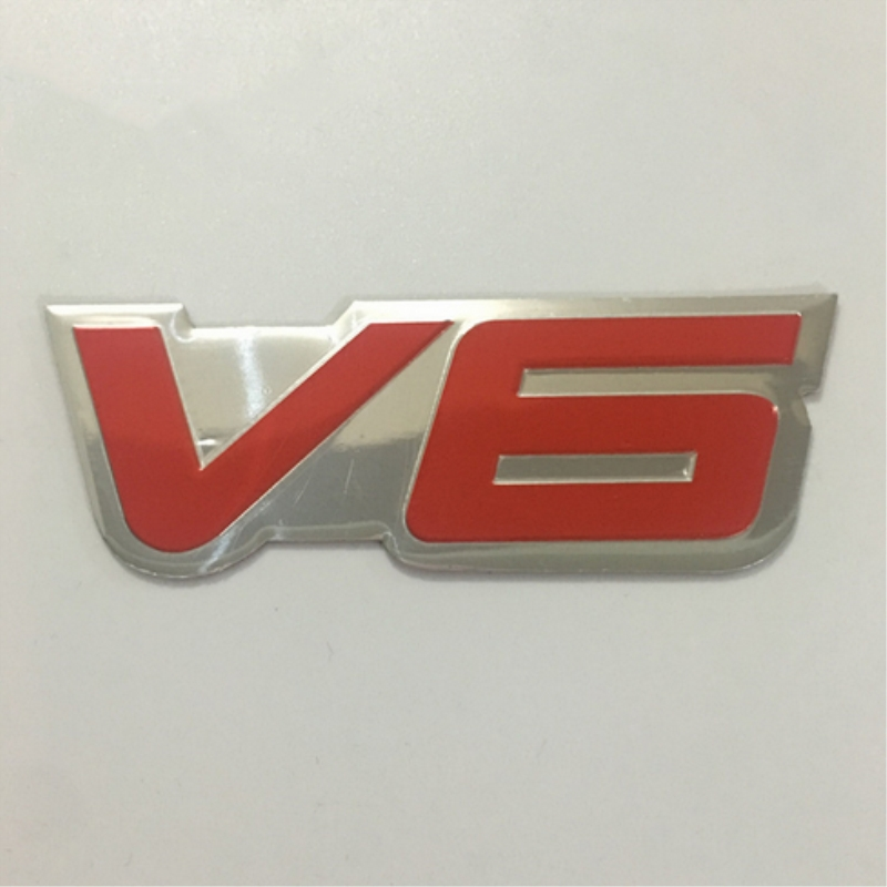 Aluminum Rear Boot Car Fender Trunk Red V6 Emblem Decoration Stickers Badge Hood Decals Car Sticker for Universal Car-Styling auto chrome camaro letters for 1968 1969 camaro emblem badge sticker