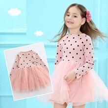 2019 Spring Girl Dress Cotton Long Sleeve Children Dresses Polka Dot Kids Dresses for Girls Fashion Girls Clothing 3-7Y недорго, оригинальная цена