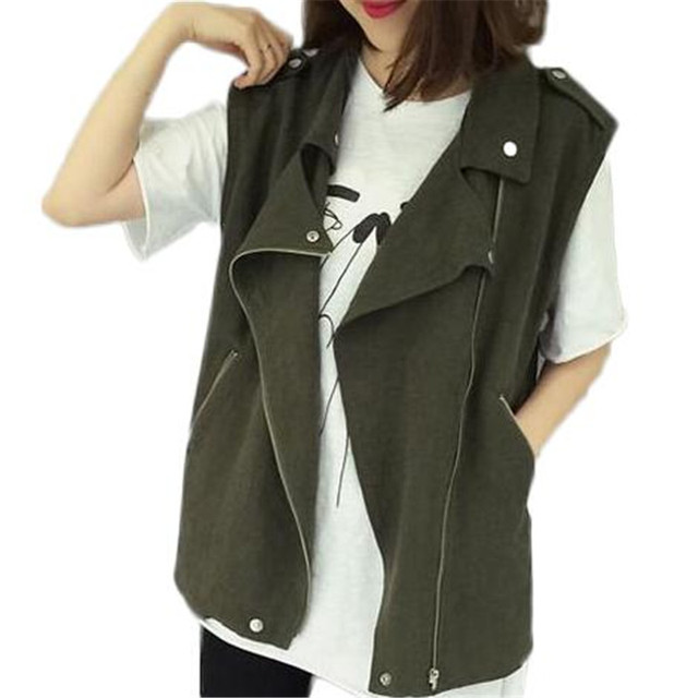 Army Green Vest Women Spring Sleeve Casual Vests Zipper Black Loose Coat Ladies Vest ZMF789542