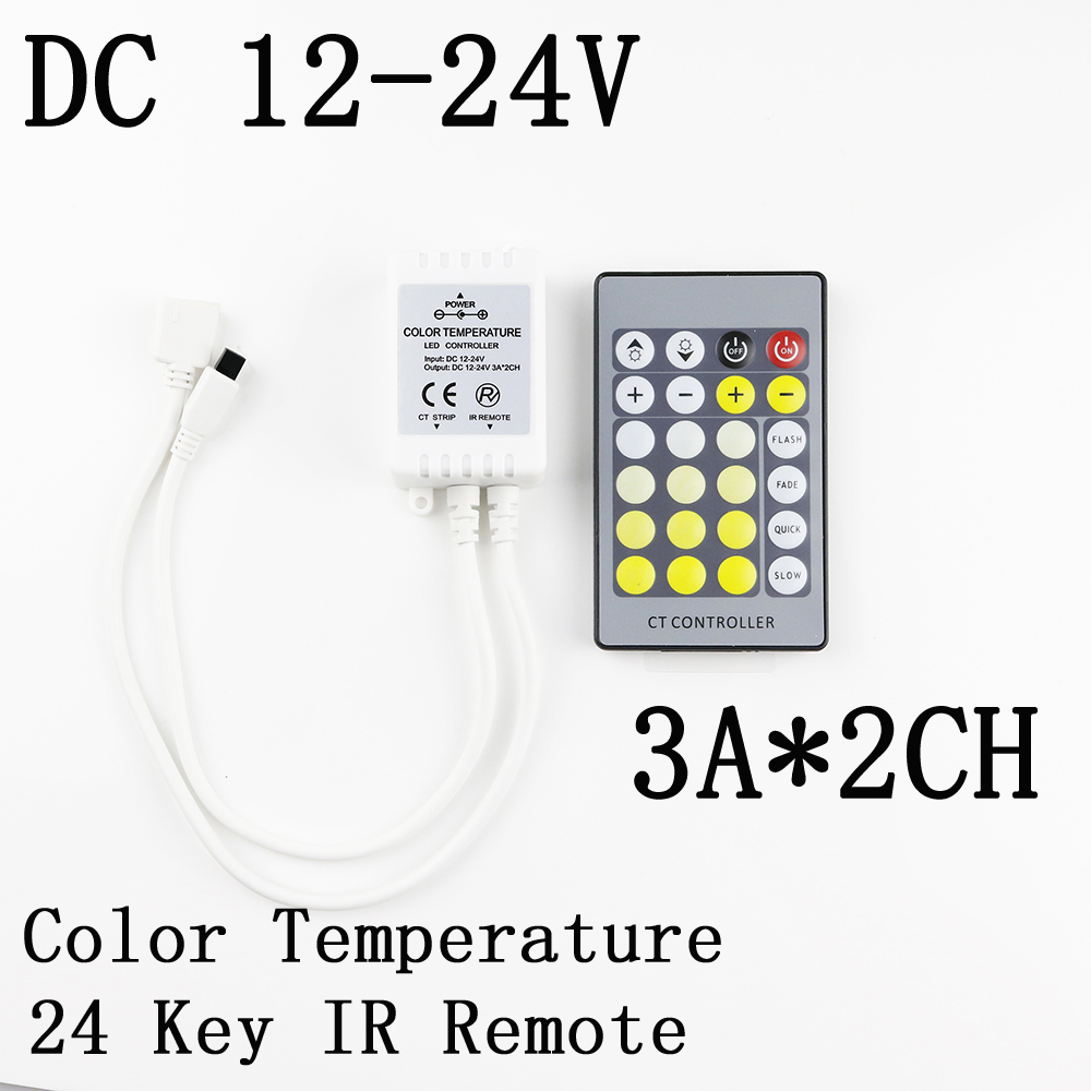 24 Key IR Remote CT Controller,DC12-24V Color 3A*2CH 2 Roads Temperature Controller For 5050 Double Colour Chip LED Strip Dimmer