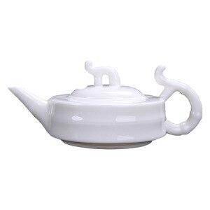 Image 5 - Dehua süet yeşim demlik saf beyaz porselen ev küçük kabarcık demlik sıcak yeşim kolu zarif