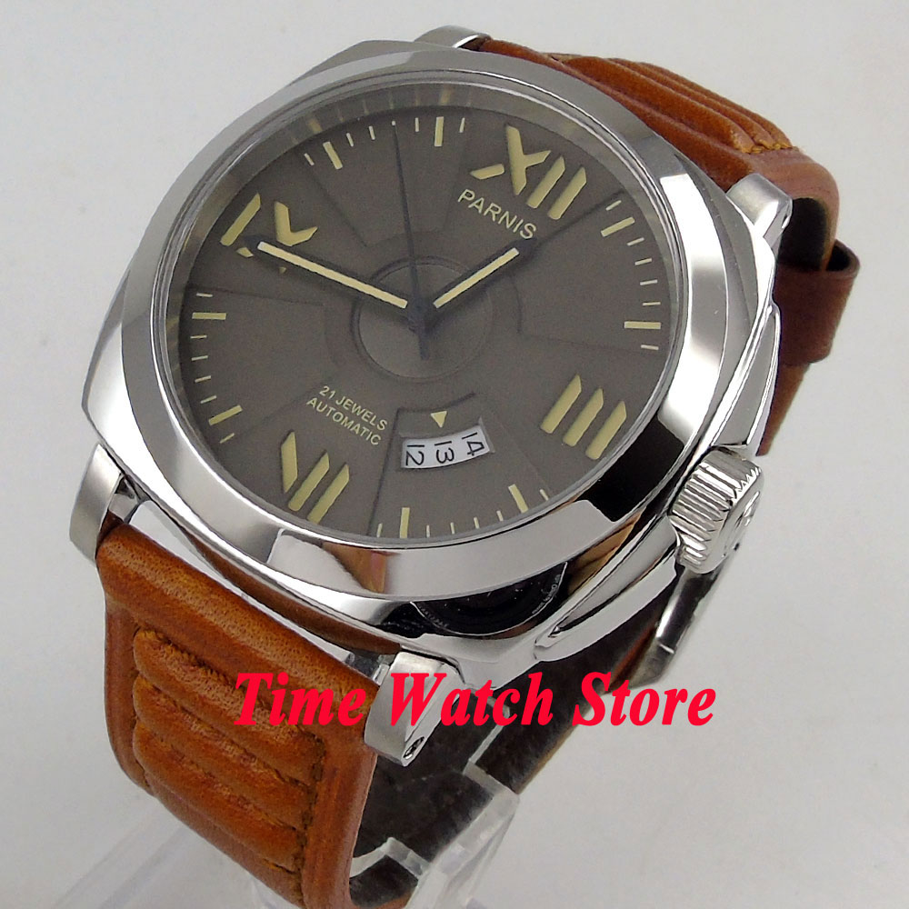 Parnis watch grey sandwich dial 44mm polished case sapphire glass MIYOTA Automatic movement wrist watch men 797Parnis watch grey sandwich dial 44mm polished case sapphire glass MIYOTA Automatic movement wrist watch men 797