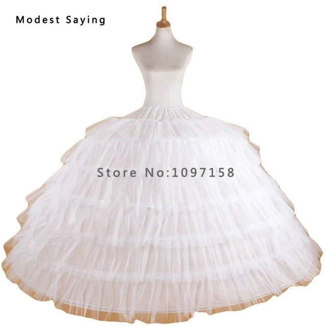 Luxe Puffy 6 cerceaux jupon sous-jupe pour grande robe de bal robes de mariée 2018 robes de bal accessoire de mariage Crinoline en Stock