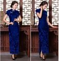 Blue/red New fashion  long Cheongsams Qipao Sexy Maxi Dress Chinese Traditional Dress short sleeve long dresses Size S-XXL