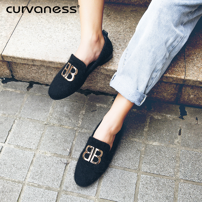 Curvaness Party And Wedding Handmade Loafers B Casual Flats Shoes Woman Fur Inside Warm Smoking Slippers Slip-on Shoes цена 2017
