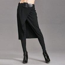 Штаны в европейском стиле г. Осенне-зимние новые тонкие повседневные штаны для девочек Женская юбка с имитацией двух частей сексуальные штаны для борьбы штаны для ног