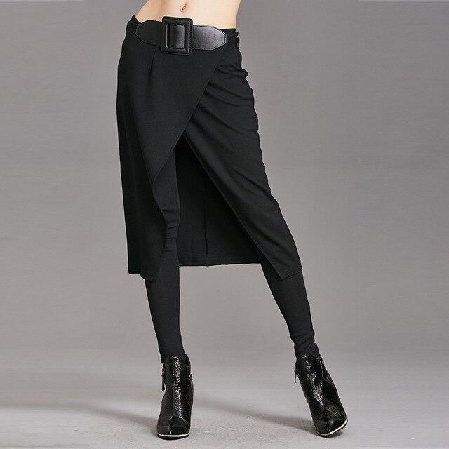 Европа брюки 2017 Осень и зима новый Тонкий был тонкий случайные Брюки Ложные две части юбки бои секс брюки ноги брюки
