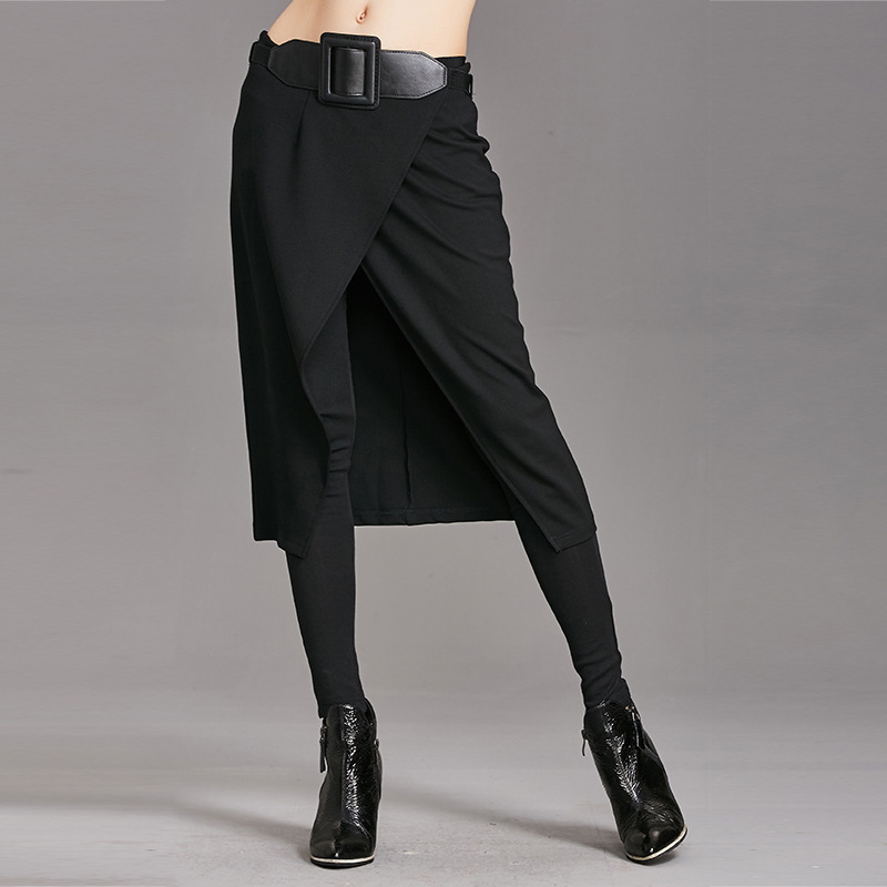 Europe pants 2017 autumn and winter new Slim was thin casual pants false two pieces of skirt fight sex pants feet pant