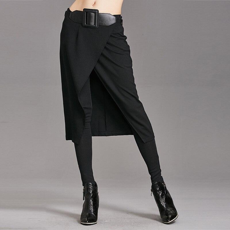 Europe pantalon 2017 automne et hiver nouveau Slim était mince pantalons décontractés faux deux pièces de jupe combat sexe pantalon pieds pantalon