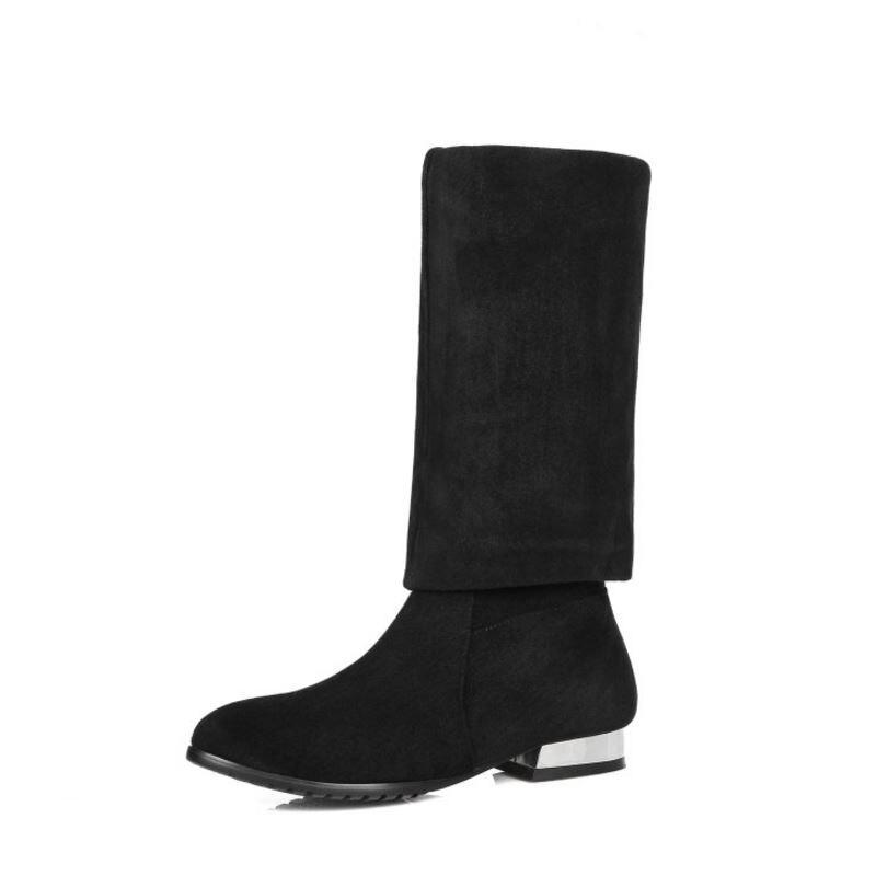 Plat Classique Femmes 31 Talon Réel Carré De Cuir Genou Noir Kaizikarzi Haute Longues Véritable En N00075 Bottes Taille Chaussures 45 D'hiver qt5dxxTwS