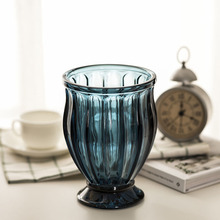 Europe Blue glass vase Creative massiness Hydroponics containers Tabletop plant vases home wedding decoration vase europe multicolor glass vase gray stripe transparent glass vases tabletop flower pot hydroponics containers home decoration