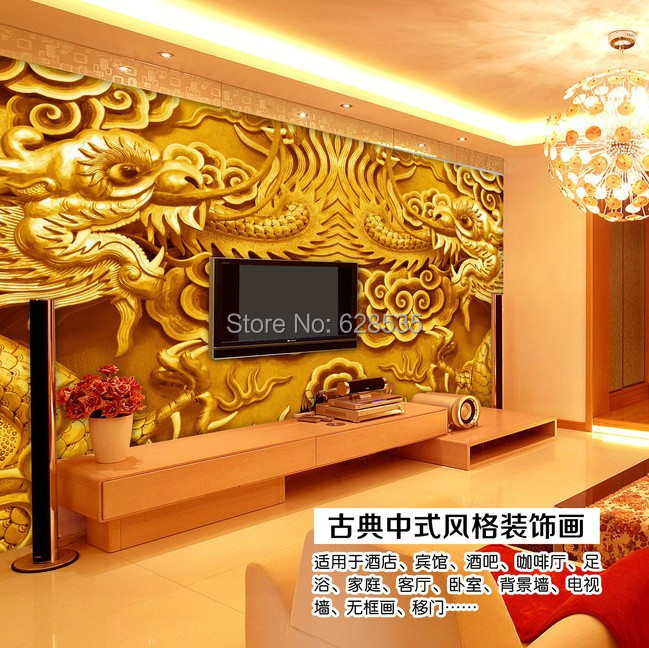 Online Shop Free shipping sitting bed room TV setting wall 3D wallpaper  Chinese dragon water proof home decor 3D mural wallpaper   Aliexpress Mobile. Online Shop Free shipping sitting bed room TV setting wall 3D