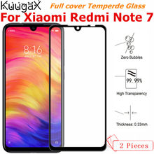 2Pcs Tempered Glass For Xiaomi Redmi Note 7 Full Screen cover smartphone Original 4GB 64GB 9H Mobile Phone toughened Protector(China)