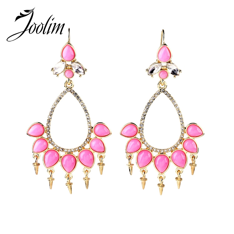 joolim jewelry wholesale stylish pink chandelier stud earring wedding earring free